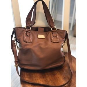 MICHAEL KORS BIG VALLEY BROWN LEATHER GOLD HW